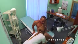 Blonde nurse fucks patient after tests